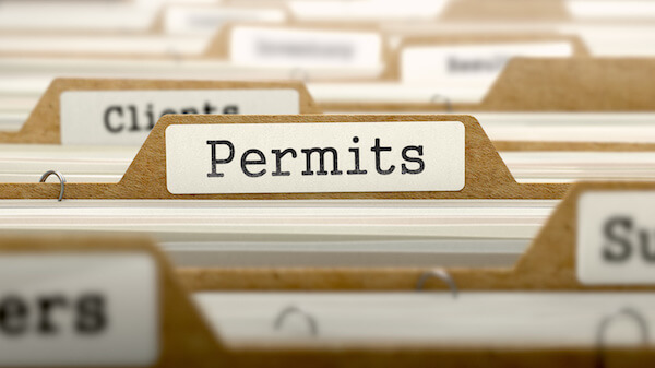 Permits Concept. Word on Folder Register of Card Index. Selective Focus.